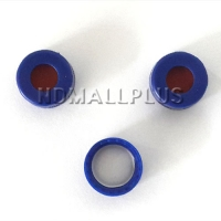 [NV-211] Blue Screw Cap 9mm w/h red PTFE/white Sil 100/pk